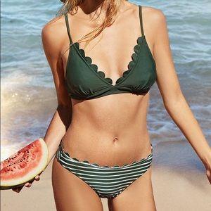 NWT Cupshe Olive Striped Bikini